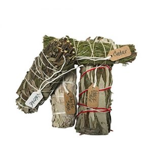 Variety Smudge Sticks an Opportunity to Sample the Finest White Sage, Lavender, Cedar, and Black Sage one of each 4 inches long.